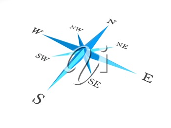 Royalty Free Clipart Image of a Blue and White Compass