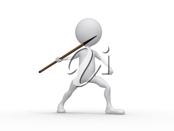 Royalty Free Clipart Image of a Javelin Throwing Figure