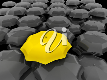 Royalty Free Clipart Image of a Yellow Umbrella Amidst Black