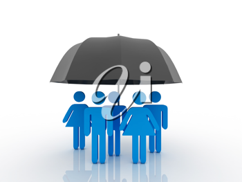 Royalty Free Clipart Image of People Under an Umbrella