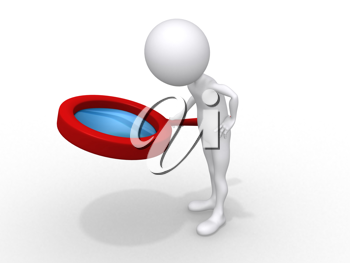 Royalty Free Clipart Image of a Person Holding a Magnifying Glass