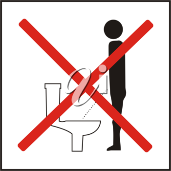 Royalty Free Clipart Image of an Icon Figure Prohibiting Urinating