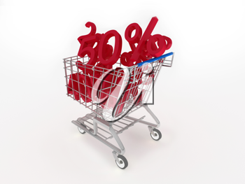 Royalty Free Clipart Image of Discounted Items in a Shopping Cart
