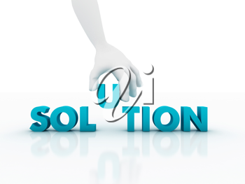 Royalty Free Clipart Image of a Hand Putting the U in Solution