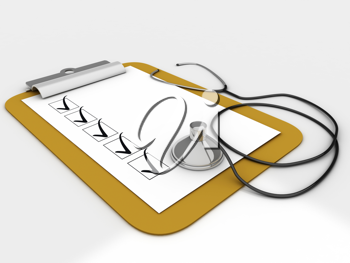 Royalty Free Clipart Image of a Clipboard and Stethoscope