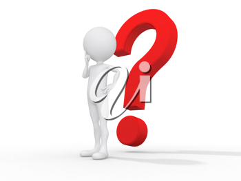 Royalty Free Clipart Image of a Person Thinking in Front of a Large Question Mark
