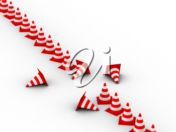 Royalty Free Clipart Image of Many Traffic Cones