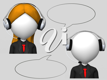customer service operator with headset and speech bubbles
