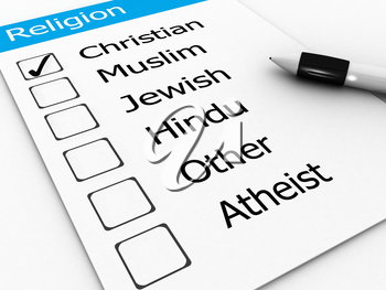 Royalty Free Clipart Image of a Religion Checklist
