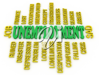 Royalty Free Clipart Image of an Unemployment Word Collage