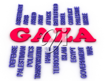3d image Gaza concept word cloud background