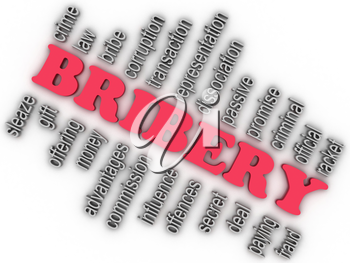 3d imagen Bribery concept word cloud background