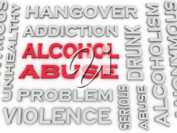 3d image Alcohol abuse  issues concept word cloud background