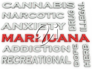 3d image Marijuana  issues concept word cloud background