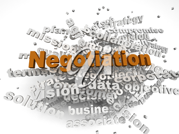 3d image negotiation  issues concept word cloud background