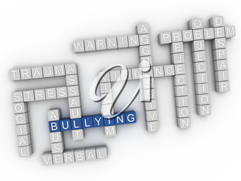 3d image Bullying issues concept word cloud background