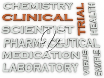 3d image Clinical trial Experiment of a New Product word cloud concept