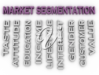 3d image Market segmentation  issues concept word cloud background