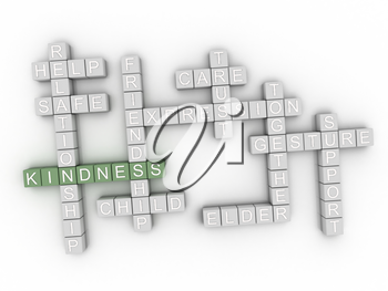 3d image Kindness issues concept word cloud background