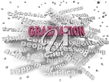 3d image Graduation word cloud concept