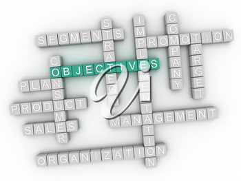 3d image Objectives word cloud concept