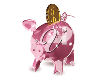 3d illustration of a pink piggy bank