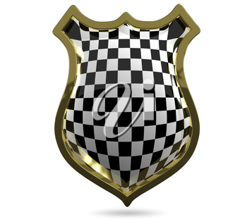 3d illustration of an abstract metallic chess shield