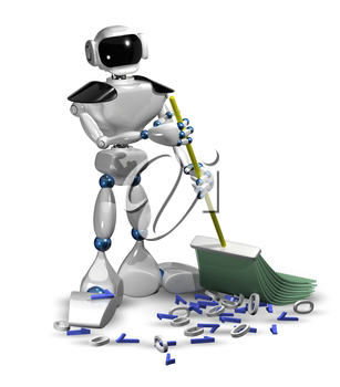 3d illustration of a robot with a broom cleans digital garbage