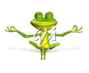 3d illustration merry green frog with big eyes