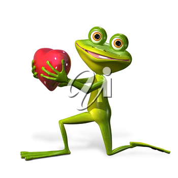 illustration merry green frog with red heart