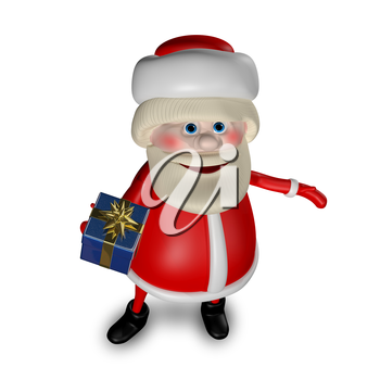 3D Illustration of Santa Claus with Gifts on a White Background