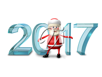 3D Illustration of Santa Claus and the Ice Figures