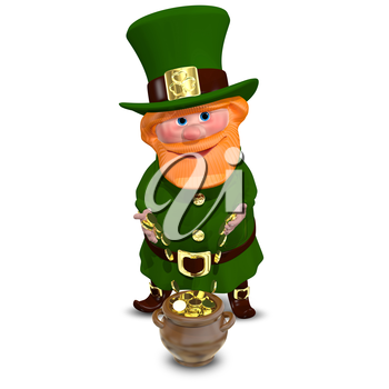 3D Illustration of a Saint Patrick with Gold Coins