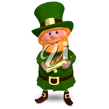 3D Illustration of Saint Patrick with Gold Bullion on a White Background