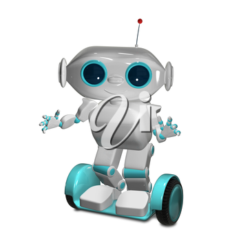 3d Animation a White Robot on Scooter