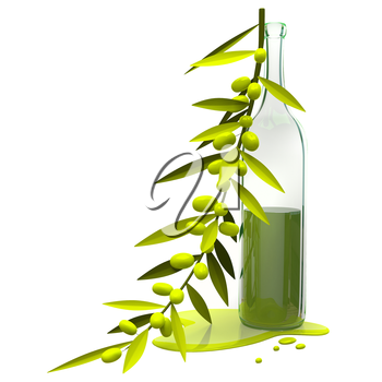 3D Illustration Olive Branch and Bottle with Oil on White Background