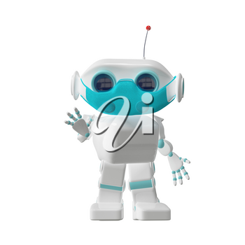 3D Illustration of a Small Robot in a Medical Mask on a White Background