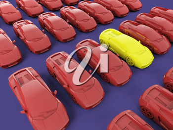 Royalty Free Clipart Image of a Bunch of Cars