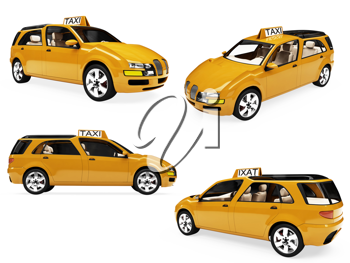 Royalty Free Clipart Image of Yellow Taxis