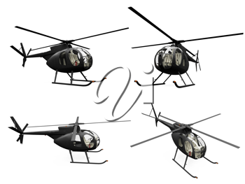 Royalty Free Clipart Image of Helicopters