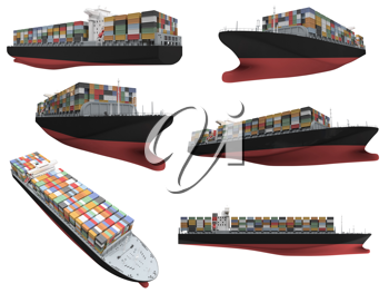 Royalty Free Clipart Image of a Collage of Ships