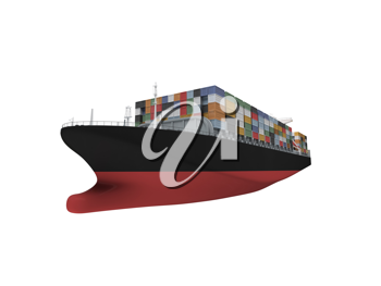 Royalty Free Clipart Image of a Container Ship