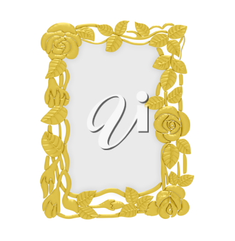 Royalty Free Clipart Image of a Gold Floral Frame