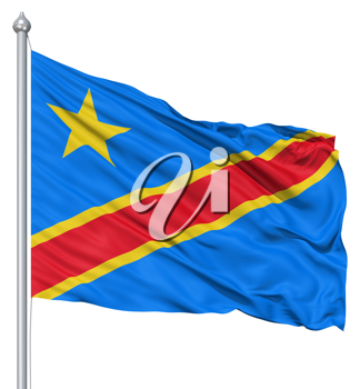 Royalty Free Clipart Image of the Flag of the Democratic Republic of the Congo