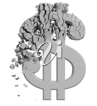 Royalty Free Clipart Image of a Damaged Dollar Sign
