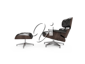 Royalty Free Clipart Image of a Chair and Footstool