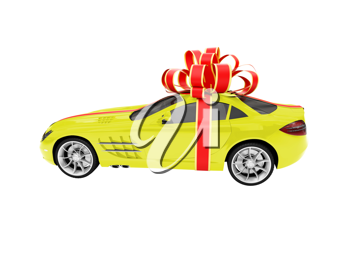 Royalty Free Clipart Image of a Car in a Bow