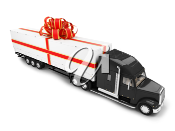 Royalty Free Clipart Image of a Transport Truck in a Bow
