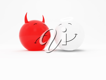 Royalty Free Clipart Image of Good Versus Evil