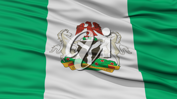 Closeup Nigeria City Flag, Capital City of Nigeria, Waving in the Wind